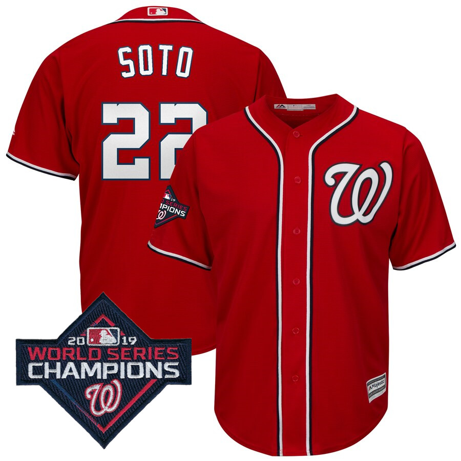 Men's Washington Nationals Juan Soto Majestic Red 2019 World Series Champions Alternate Big & Tall Cool Base Player Jersey