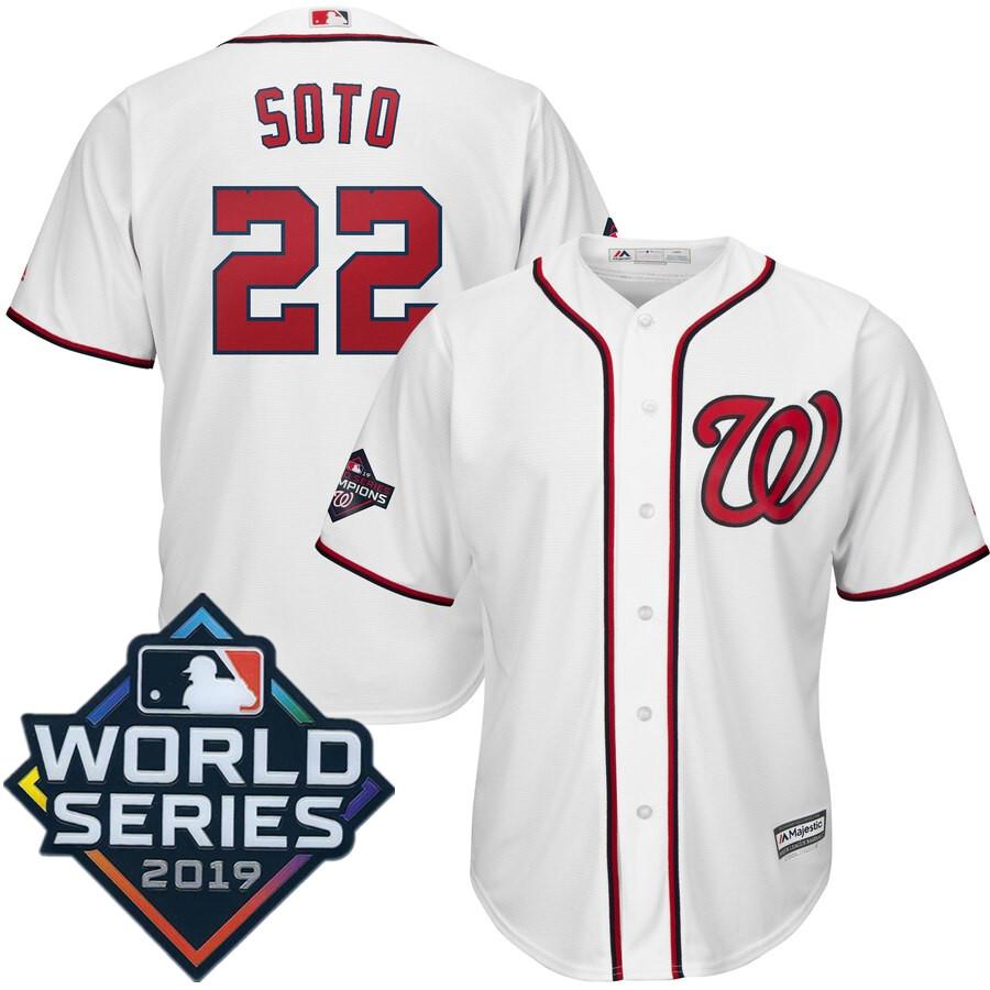 Men's Washington Nationals Juan Soto Majestic White 2019 World Series Champions Home Big & Tall Cool Base Player Jersey