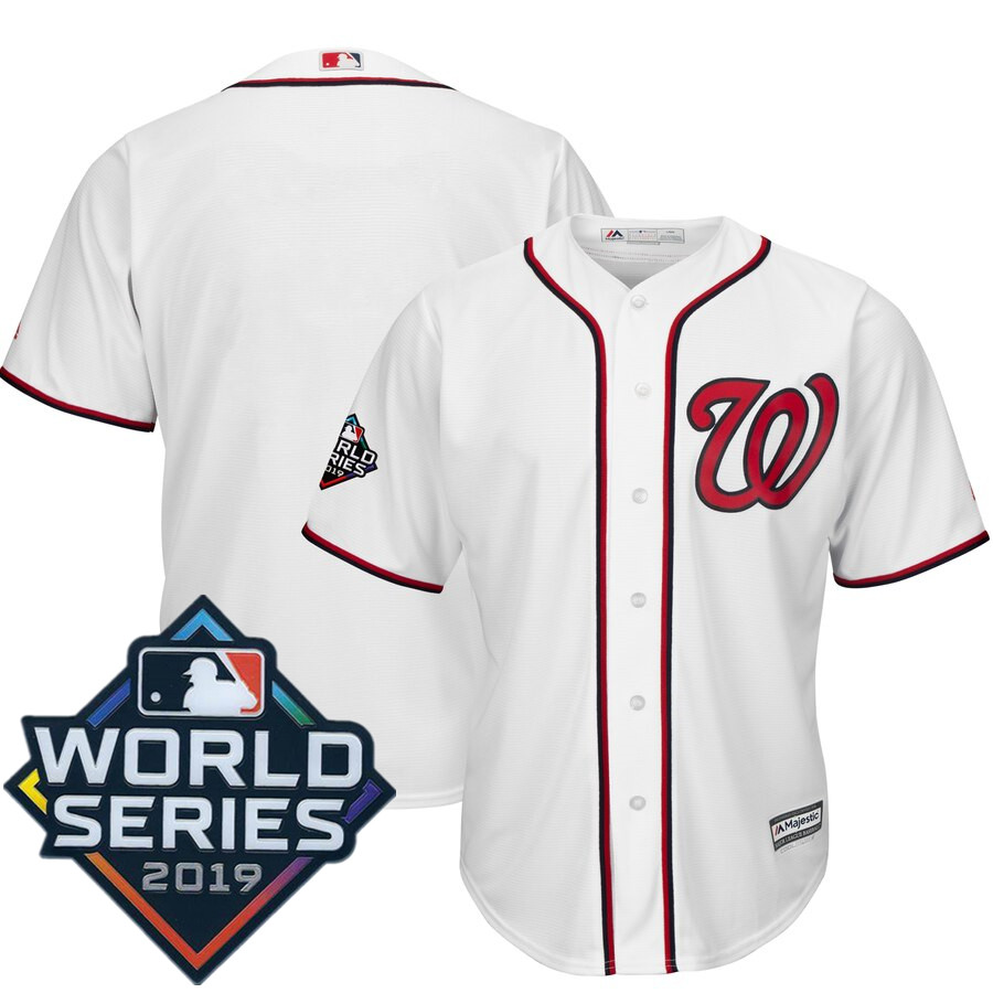 Men's Washington Nationals Majestic White 2019 World Series Bound Official Cool Base Team Jersey