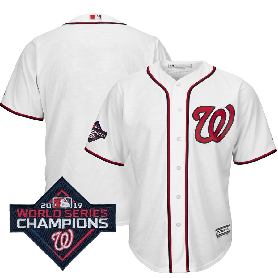 Men's Washington Nationals Blank Majestic White 2019 World Series Champions Home Cool Base Patch Jersey