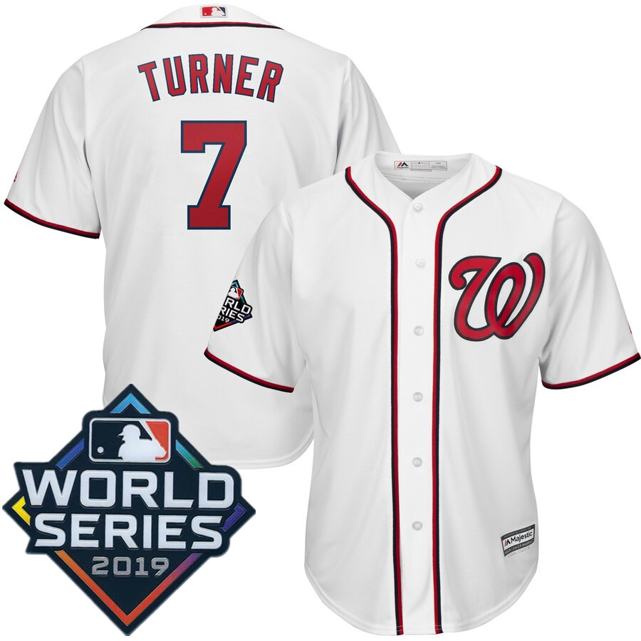 Men's Washington Nationals Trea Turner Majestic White 2019 World Series Bound Official Cool Base Player Jersey