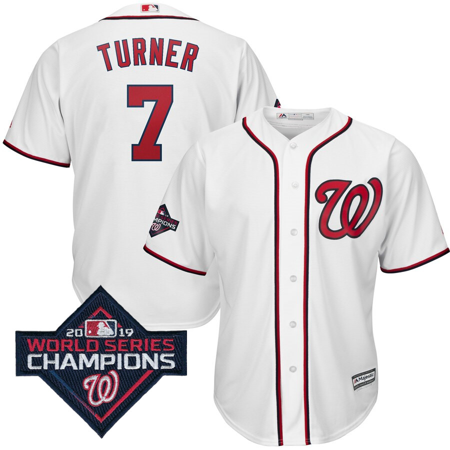 Men's Washington Nationals Trea Turner Majestic White 2019 World Series Champions Home Cool Base Patch Player Jersey