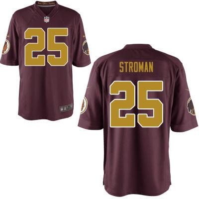 Men's Washington Redskins #25 Greg Stroman Red With Gold Alternate Stitched NFL Nike Game Jersey