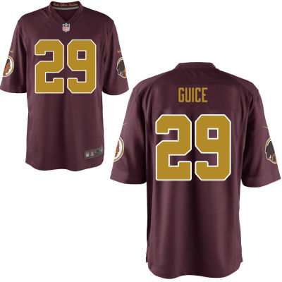 Men's Washington Redskins #29 Derrius Guice Red With Gold Alternate Stitched NFL Nike Game Jersey