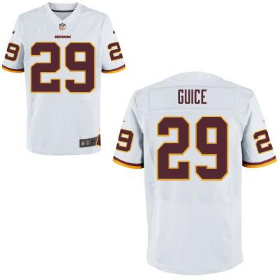 Men's Washington Redskins #29 Derrius Guice White Road Stitched NFL Nike Game Jersey