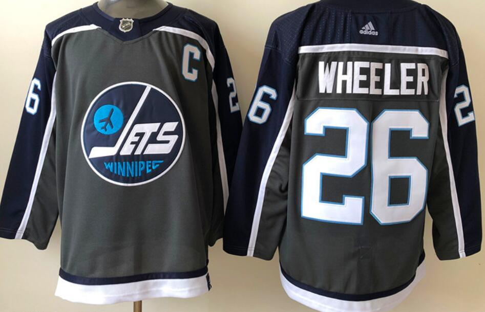 Men's Winnipeg Jets #26 Blake Wheeler Black 2020-21 Reverse Retro Alternate Adidas Stitched NHL Jersey