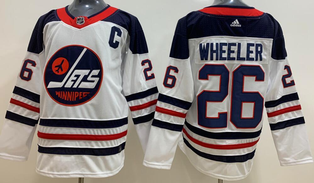 Men's Winnipeg Jets #26 Blake Wheeler White Breakaway Heritage Adidas Stitched NHL Jersey
