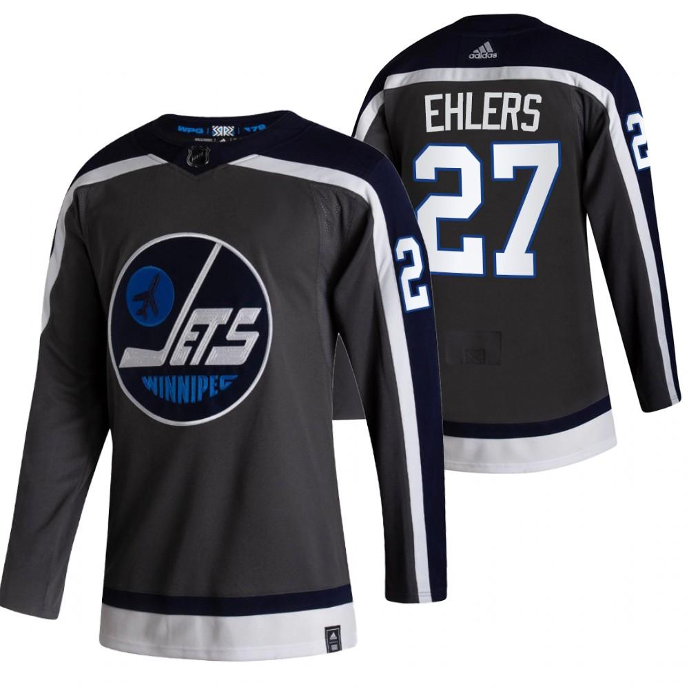 Men's Winnipeg Jets #27 Nikolaj Ehlers Black 2020-21 Reverse Retro Alternate Adidas Stitched NHL Jersey