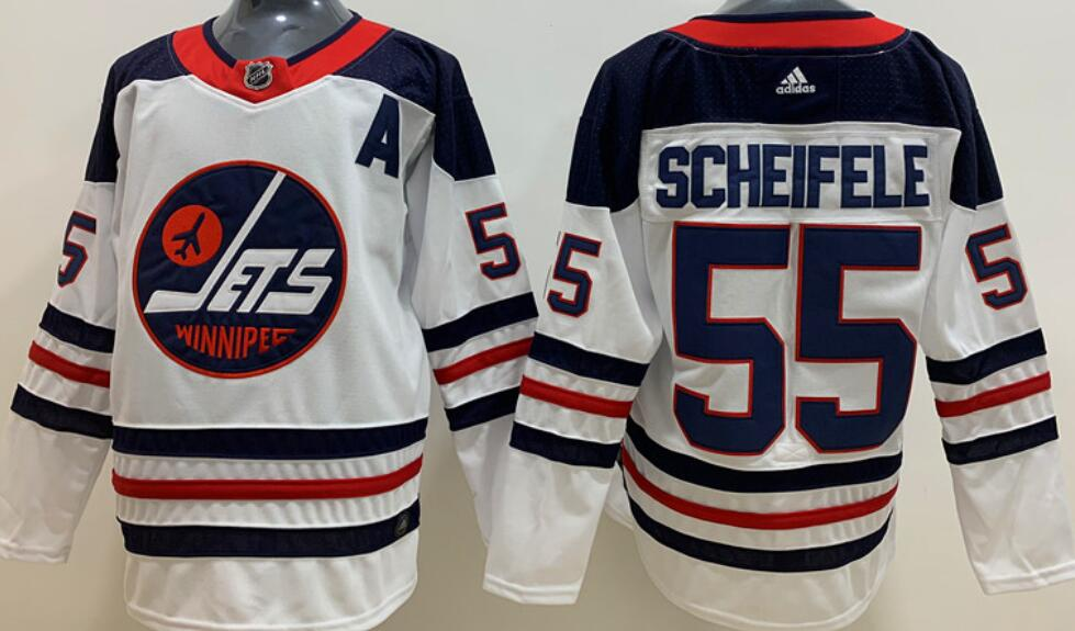Men's Winnipeg Jets #55 Mark Sceifele White Breakaway Heritage Adidas Stitched NHL Jersey