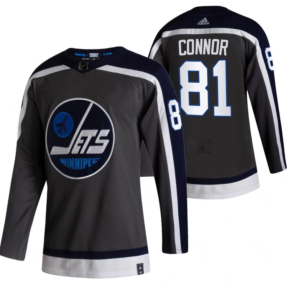 Men's Winnipeg Jets #81 Kyle Connor Black 2020-21 Reverse Retro Alternate Adidas Stitched NHL Jersey