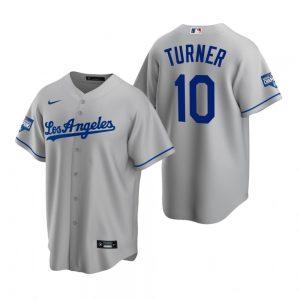 Men's Los Angeles Dodgers #10 Justin Turner Gray 2020 World Series Champions Road Replica Jersey
