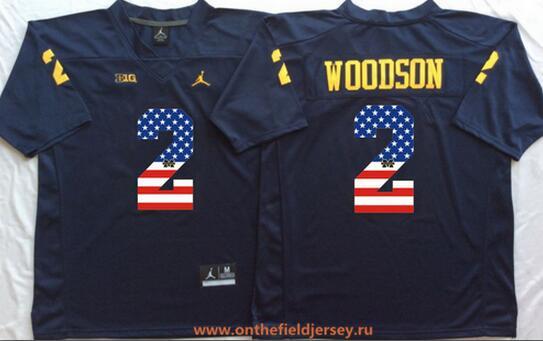 Men's Michigan Wolverines #2 Charles Woodson Navy Blue USA Flag Fashion Stitched Brand Jordan NCAA Jersey