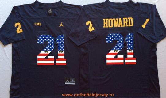 Men's Michigan Wolverines #21 Desmond Howard Navy Blue USA Flag Fashion Stitched Brand Jordan NCAA Jersey