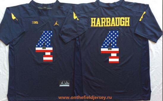 Men's Michigan Wolverines #4 Jim Harbaugh Navy Blue USA Flag Fashion Stitched Brand Jordan NCAA Jersey