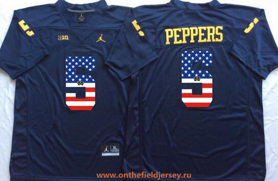 Men's Michigan Wolverines #5 Jabrill Peppers Navy Blue USA Flag Fashion Stitched Brand Jordan NCAA Jersey