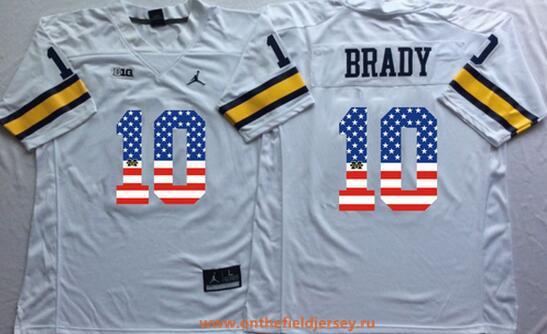Men's Michigan Wolverines #10 Tom Brady White USA Flag Fashion Stitched Brand Jordan NCAA Jersey