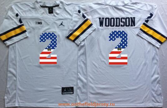 Men's Michigan Wolverines #2 Charles Woodson White USA Flag Fashion Stitched Brand Jordan NCAA Jersey