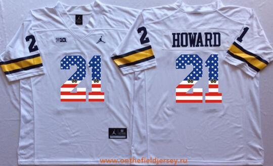 Men's Michigan Wolverines #21 Desmond Howard White USA Flag Fashion Stitched Brand Jordan NCAA Jersey