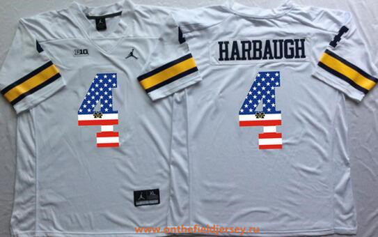 Men's Michigan Wolverines #4 Jim Harbaugh White USA Flag Fashion Stitched Brand Jordan NCAA Jersey