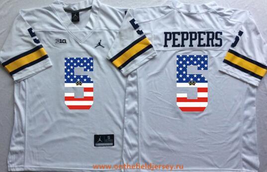 Men's Michigan Wolverines #5 Jabrill Peppers White USA Flag Fashion Stitched Brand Jordan NCAA Jersey
