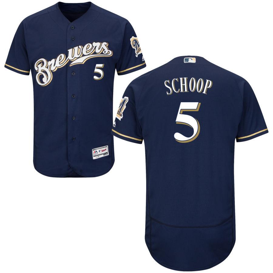 Milwaukee Brewers #5 Jonathan Schoop Majestic Navy Blue Brewers Flex Base Jersey