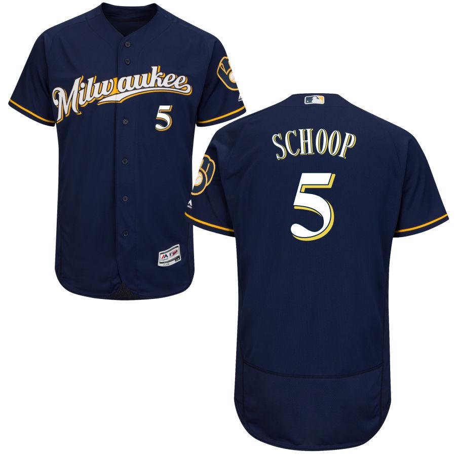 Milwaukee Brewers #5 Jonathan Schoop Majestic Navy Blue Milwaukee Flex Base Jersey