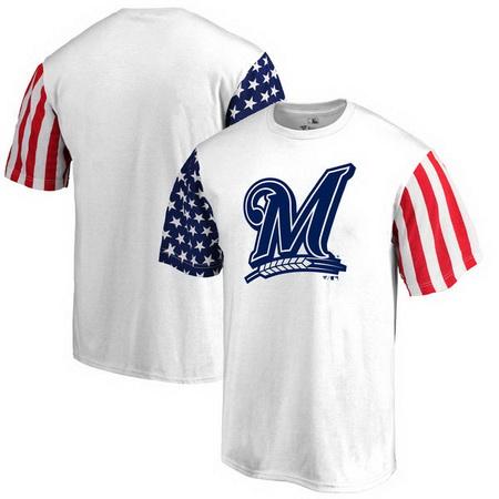 Milwaukee Brewers Fanatics Branded Stars & Stripes T-Shirt - White