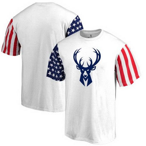Milwaukee Bucks Fanatics Branded Stars & Stripes T-Shirt - White