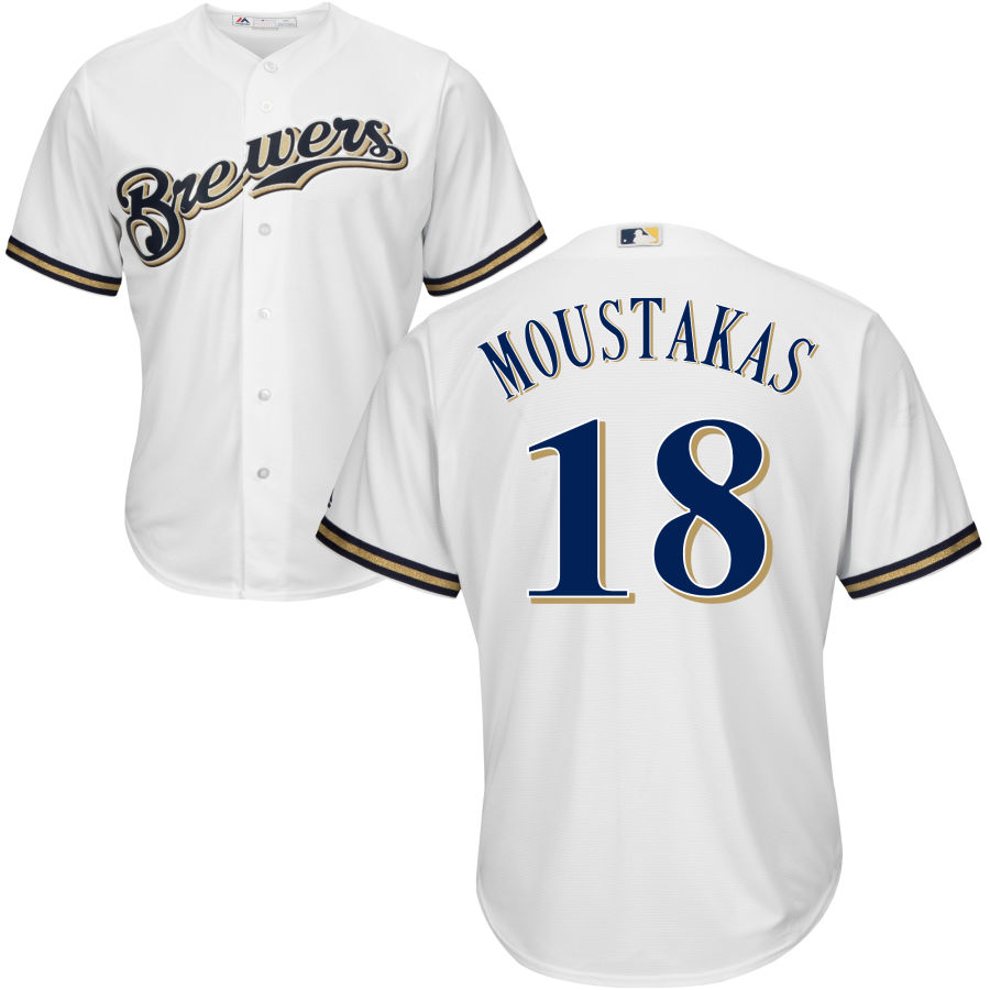 Men's Milwaukee Brewers #18 Mike Moustakas Majestic White Cool Base Jersey