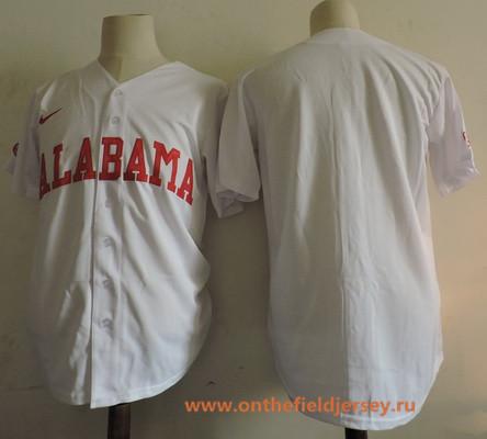 Men's Alabama Crimson Tide Blank White College Baseball Nike Stitched NCAA Jersey