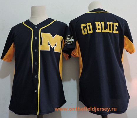 Men's Michigan Wolverines Blank Navy Blue College Baseball Stitched NCAA Jersey
