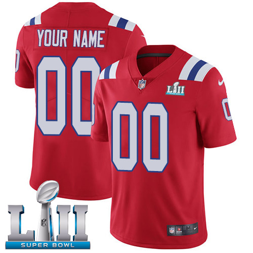 New England Patriots Red Nike NFL Alternate Men's Jersey Custom Vapor Untouchable Limited Stitched 2018 Super Bowl LII Patch
