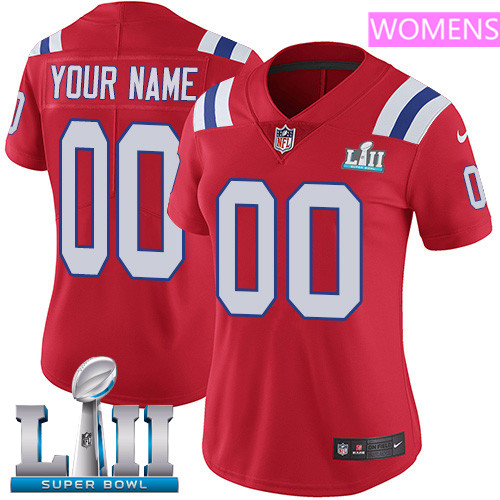 New England Patriots Red Nike NFL Alternate Women's Jersey Custom Vapor Untouchable Limited Stitched 2018 Super Bowl LII Patch
