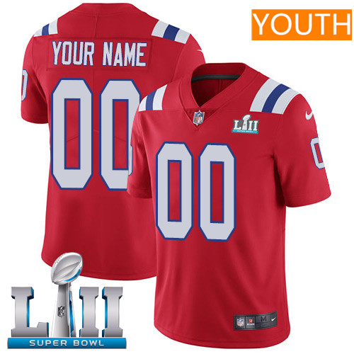 New England Patriots Red Nike NFL Alternate Youth Jersey Custom Vapor Untouchable Limited Stitched 2018 Super Bowl LII Patch