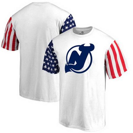 New Jersey Devils Fanatics Branded Stars & Stripes T-Shirt - White