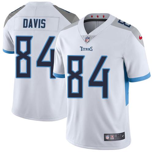 Nike Corey Davis Men's White Limited Jersey #84 NFL Road Tennessee Titans Vapor Untouchable