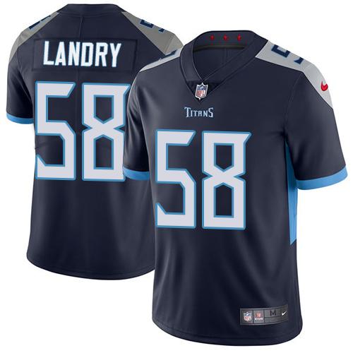 Nike Harold Landry Men's Navy Blue Limited Jersey #58 NFL Home Tennessee Titans Vapor Untouchable