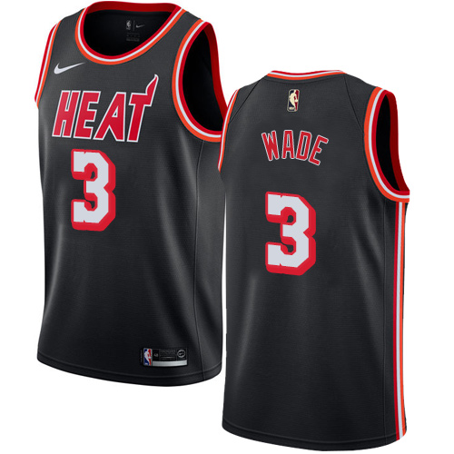Nike Miami Heat #3 Dwyane Wade Black Retro Nike NBA Swingman Hardwood Classics Jersey