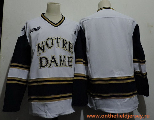 Men's Notre Dame Fighting Irish Bauer Blank adidas White Colleage Ice Hockey Stitched NHL Jersey