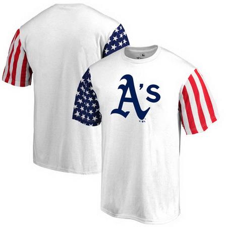 Oakland Athletics Fanatics Branded Stars & Stripes T-Shirt - White