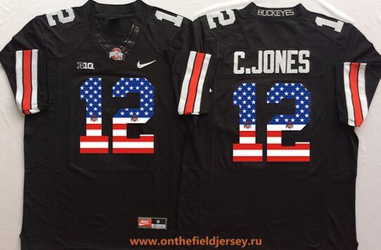 Men's Ohio State Buckeyes #12 Cardale Jones Black USA Flag Fashion Stitched 2016 Nike NCAA Jersey