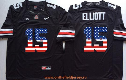 Men's Ohio State Buckeyes #15 Ezekiel Elliott Black USA Flag Fashion Stitched 2016 Nike NCAA Jersey