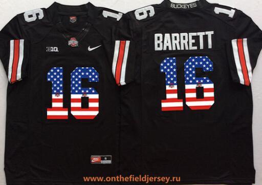 Men's Ohio State Buckeyes #16 J.T. Barrett Black USA Flag Fashion Stitched 2016 Nike NCAA Jersey