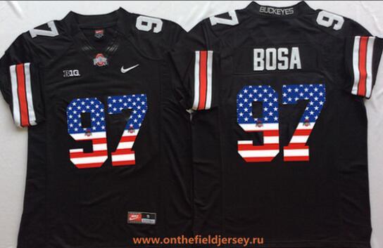 Men's Ohio State Buckeyes #97 Joey Bosa Black USA Flag Fashion Stitched 2016 Nike NCAA Jersey