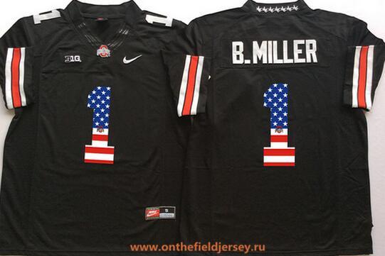 Men's Ohio State Buckeyes #1 Braxton Miller Black USA Flag Fashion Stitched 2015 Nike NCAA Jersey