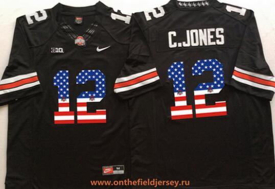 Men's Ohio State Buckeyes #12 Cardale Jones Black USA Flag Fashion Stitched 2015 Nike NCAA Jersey