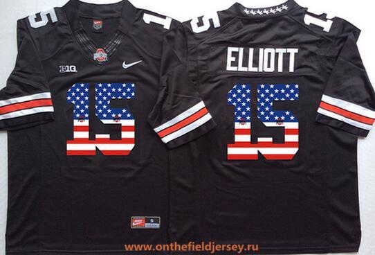 Men's Ohio State Buckeyes #15 Ezekiel Elliott Black USA Flag Fashion Stitched 2015 Nike NCAA Jersey