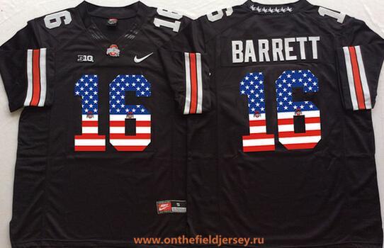 Men's Ohio State Buckeyes #16 J.T. Barrett Black USA Flag Fashion Stitched 2015 Nike NCAA Jersey