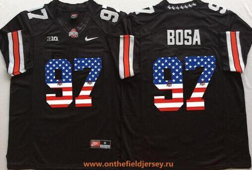 Men's Ohio State Buckeyes #97 Joey Bosa Black USA Flag Fashion Stitched 2015 Nike NCAA Jersey