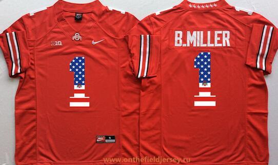 Men's Ohio State Buckeyes #1 Braxton Miller Red USA Flag Fashion Stitched 2015 Nike NCAA Jersey